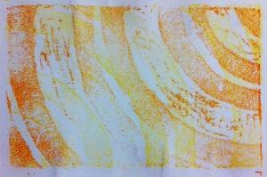 orange curve print